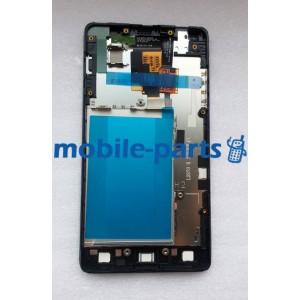 Дисплей в сборе с сенсорным стеклом (тачскрином) и передней панелью LG E975 Optimus G (Black)