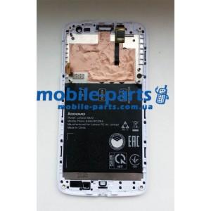 Дисплей с передней панелью и тачскрином для Lenovo S820 белый оригинал