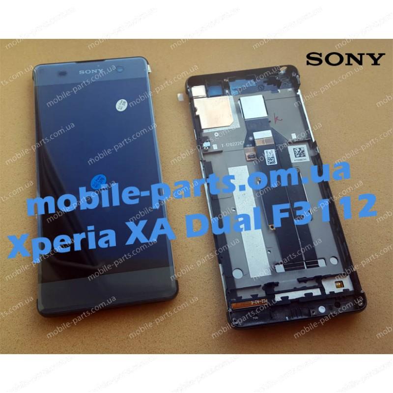 Дисплей в сборе с передней панелью и сенсором для Sony Xperia XA Dual F3112 Black оригинал