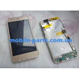 Дисплей в сборе с передней панелью, слуховым динамиком, разьемом USB и боковым шлейфом для Huawei Y3 II (LUA-U22) Gold