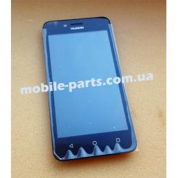 Дисплей в сборе с передней панелью, слуховым динамиком, разьемом USB и боковым шлейфом для Huawei Y3 II (LUA-U22) Black