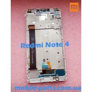 Дисплей в сборе с передней панелью и сенсором для Xiaomi Redmi Note 4 White оригинал