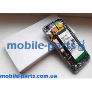 Дисплей Super AMOLED в сборе с передней панелью, металлическим ободком, боковыми кнопками и аккумулятором для Samsung Galaxy S7 Edge G935 Black оригинал
