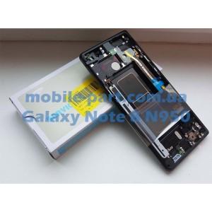 Дисплей Super AMOLED в сборе с передней панелью, металлическим ободком и боковыми кнопками для Samsung Galaxy Note 8 SM-N950 Black оригинал