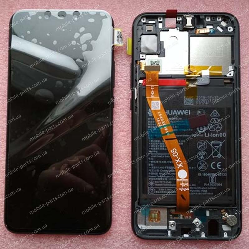 """Дисплей IPS 6,3"""" в сборе с сенсором, металлической рамкой и аккумулятором для Huawei P Smart Plus (INE-LX1) Black оригинал"""