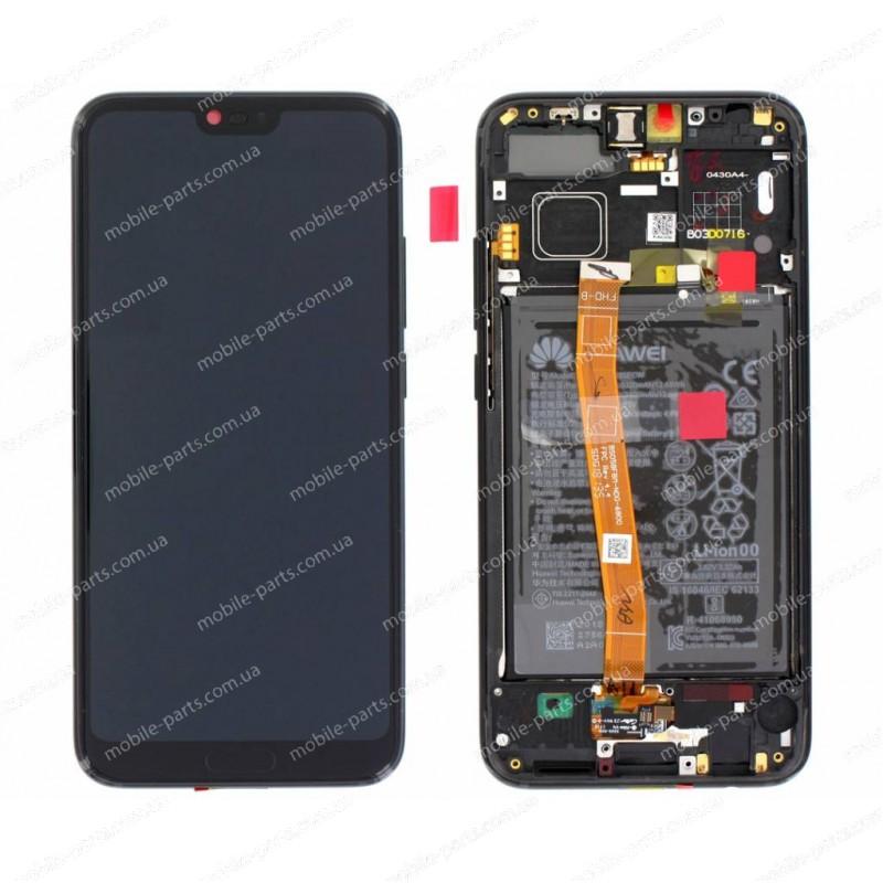 """Дисплей 5.85"""" IPS в сборе с металлической рамкой, сенсором, аккумулятор и боковыми кнопками для Honor 10 (COL-L29) Black оригинал"""