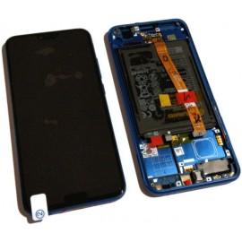 """Дисплей 5.85"""" IPS в сборе с металлической рамкой, сенсором, аккумулятор и боковыми кнопками для Honor 10 (COL-L29) Blue оригинал"""