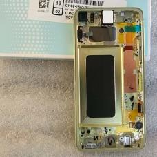 """Оригинальный дисплей Dynamic AMOLED 5,8"""" в сборе с сенсором и металлической рамкой для Samsung SM-G970 Galaxy S10e Yellow (дисплей черный, боковая грань светлая)"""