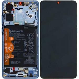 """Оригинальный дисплей 6,1"""" OLED в сборе с металлической рамкой, сенсором и аккумулятором для Huawei P30 (ELE-L29) Breathing Crystal оригинал"""