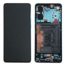 """Оригинальный дисплей 6,1"""" OLED в сборе с металлической рамкой, сенсором и аккумулятором для Huawei P30 (ELE-L29) Aurora Blue оригинал"""