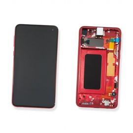 """Оригинальный дисплей Dynamic AMOLED 5,8"""" в сборе с сенсором и металлической рамкой для Samsung SM-G970 Galaxy S10e Cardinal Red (дисплей черный, боковая грань красная)"""