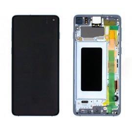 """Оригинальный дисплей 6,1"""" Dynamic AMOLED в сборе с металлической рамкой и сенсором для Samsung SM-G973 Galaxy S10 Prism Blue (дисплейный черный, грани голубые)"""
