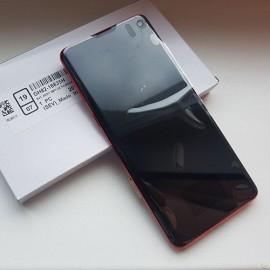 """Оригинальный дисплей 6,1"""" Dynamic AMOLED в сборе с металлической рамкой и сенсором для Samsung SM-G973 Galaxy S10 Cardinal Red (дисплейный черный, грани красные)"""