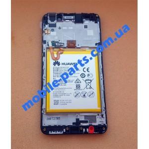 Дисплей в сборе с передней панелью, вибромотором, слуховым динамикои и акб для Huawei Y6 II (CAM-L21) Black оригинал
