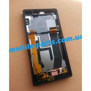 Дисплей в сборе с передней панелью и тачскрином для Sony Xperia Z Black оригинал